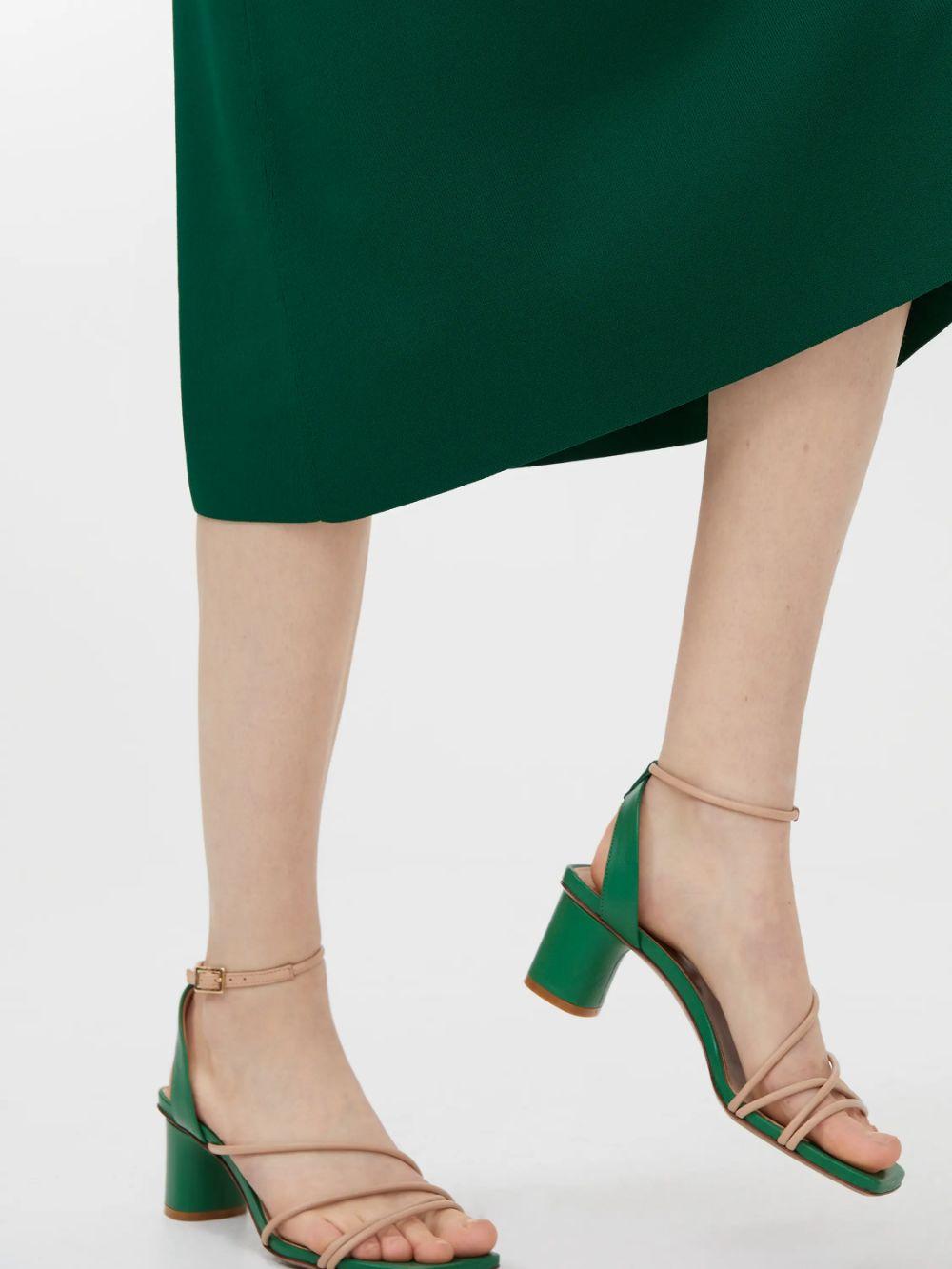 Ankle-Wrap Leather Sandals - Green - Shoes - ARKET DE