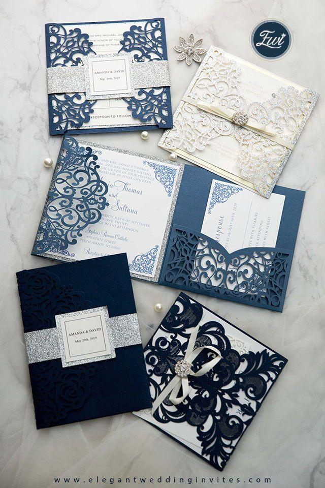 Elegant Laser Cut Wedding Invitations In Navy Blue Tones #ElegantWeddingInvites