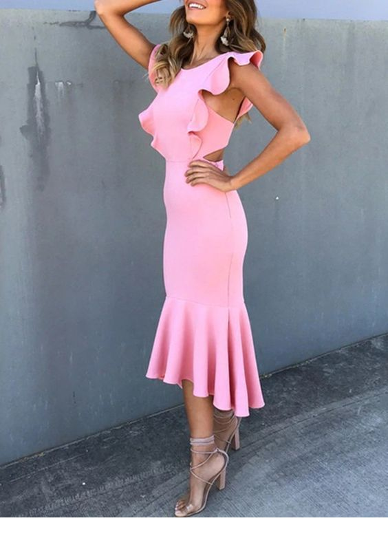 Cute pink long dress with ruffles