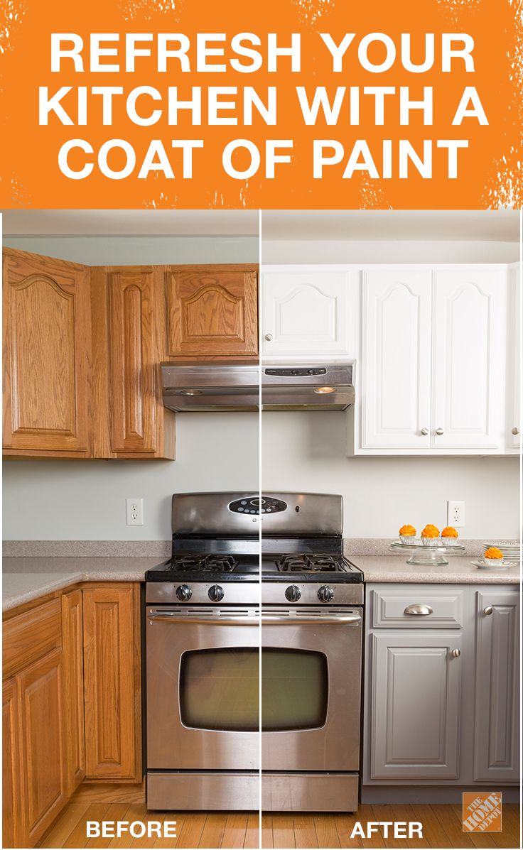 The difference between this old kitchen and this fresh new one is Rust-Oleum! The right coat of paint might be all you need to refresh the look of your kitchen. Save yourself time and money with this simple step-by-step tutorial on The Home Depot Blog.