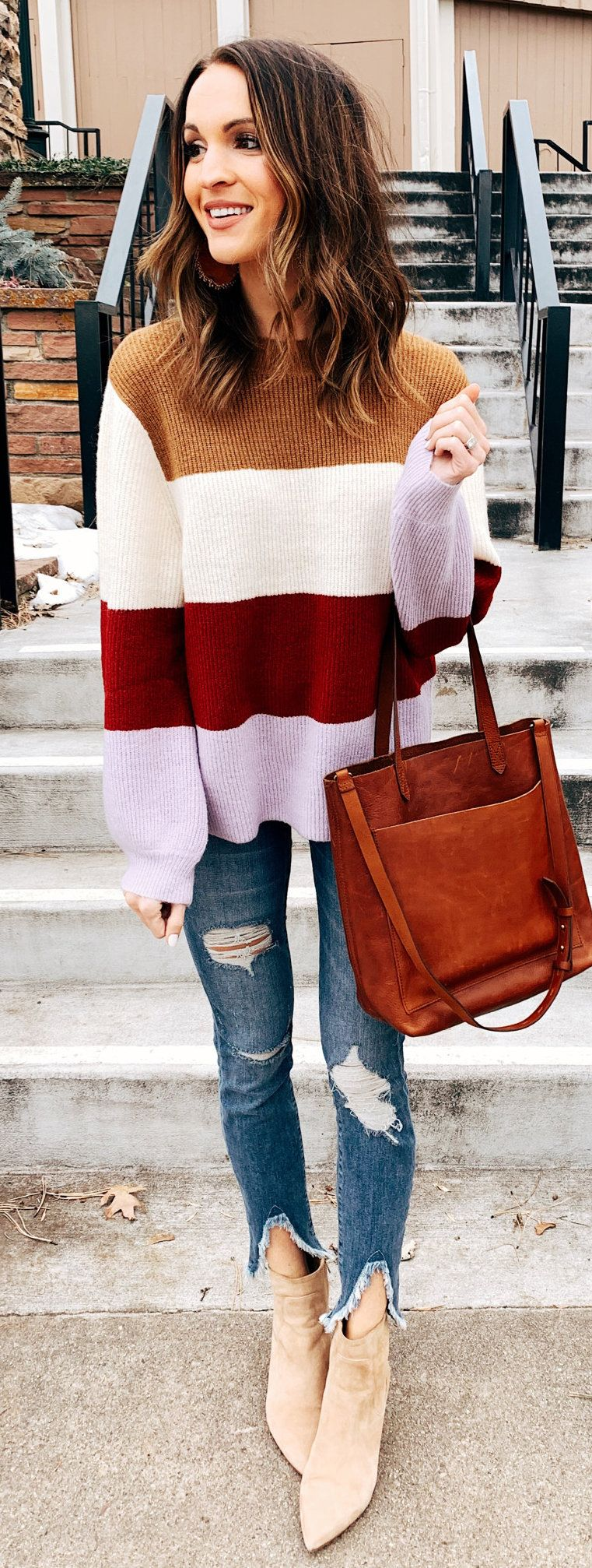 white and multicolored sweater