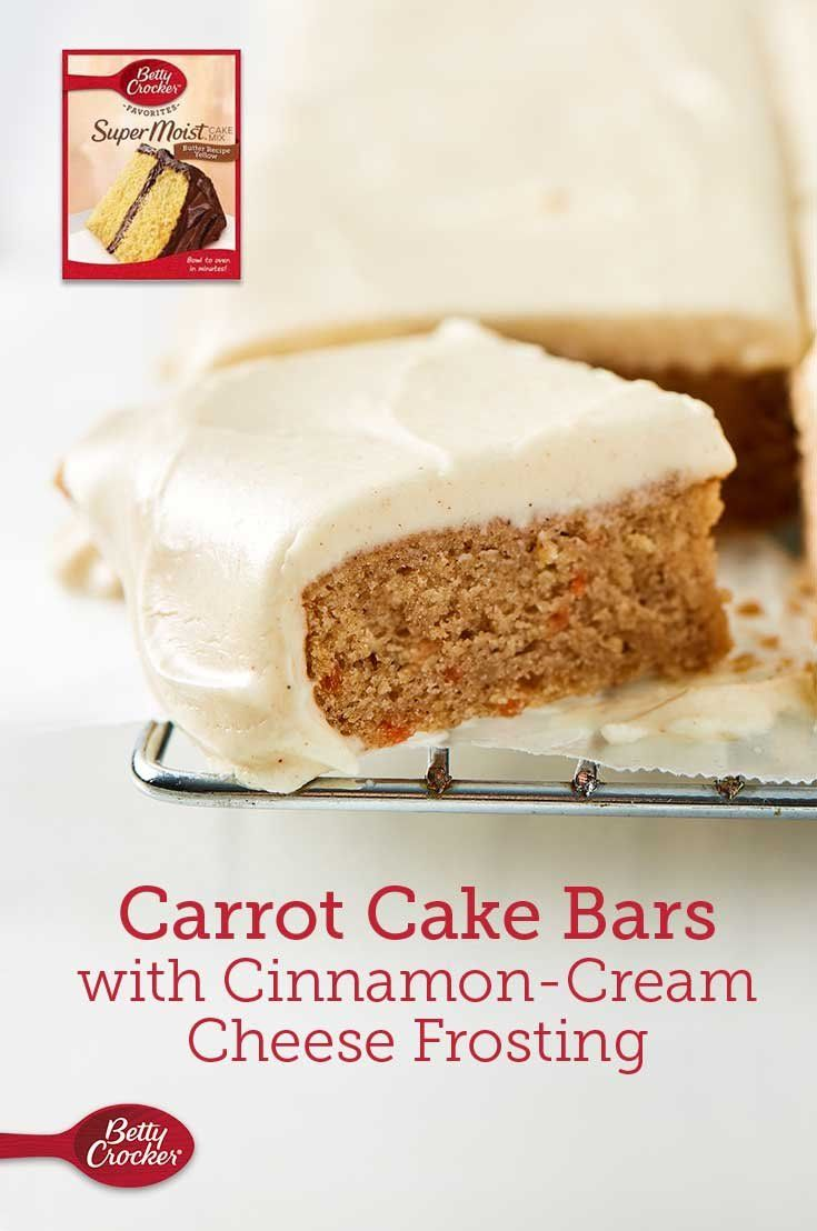 Boxed cake mix desserts are some of our favorites—they're simultaneously easy and delicious. Carrot cake bars taste even more incredible paired with cinnamon-cream cheese frosting.