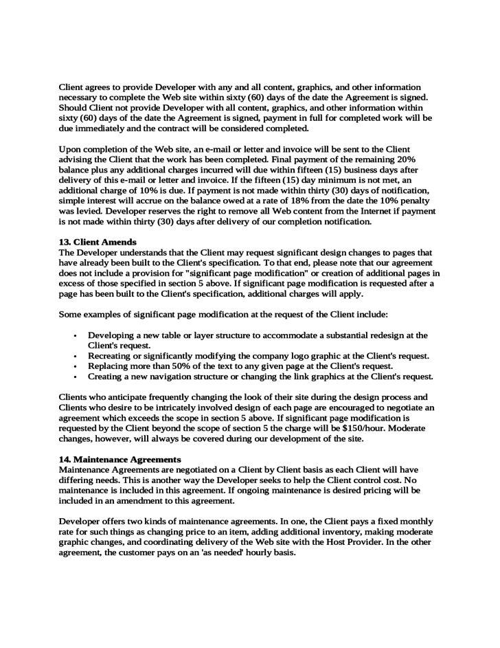 Website Development Agreement key issues in website development - development contract templates