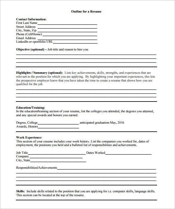 Resume Outline Templates Resume Outline Template 10 Free Word - training outline template