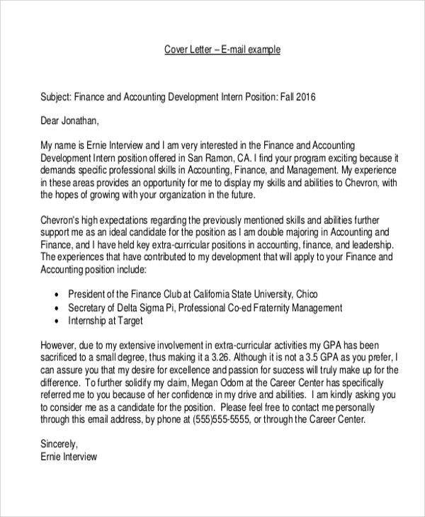 cover letter internship position
