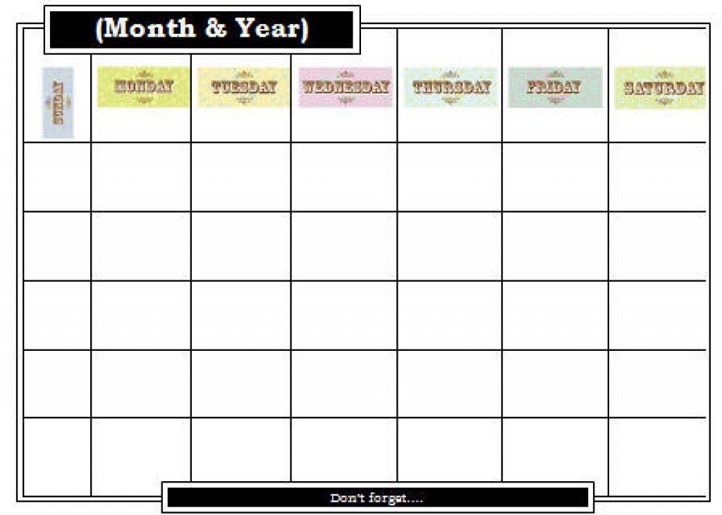 Blank Calendar Template Blank Calendar Template Free Printable - attendance calendar template