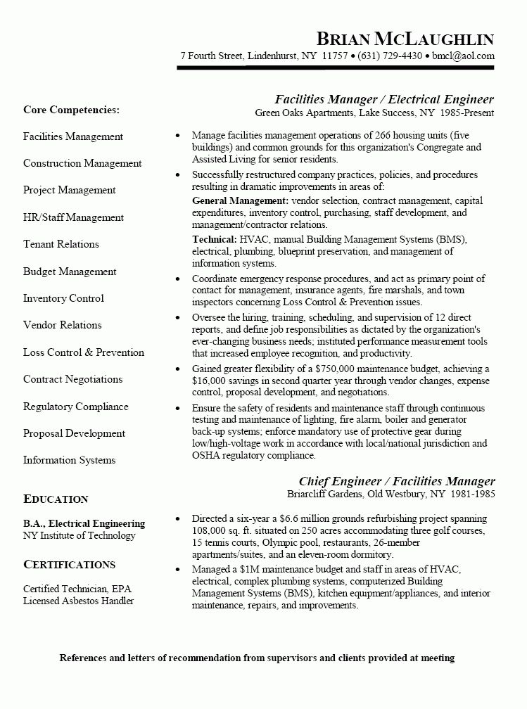 building manager resume facilities manager resume property