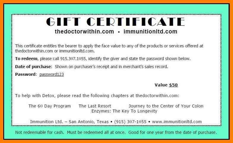 Gift Certificate Wording Samples   Giftsite.co