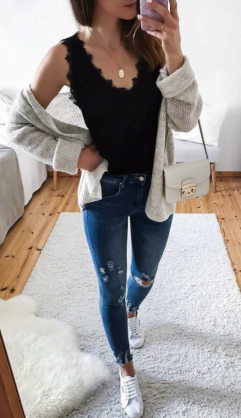black tank top, distressed blue jeans, and gray cardigan #spring #outfits