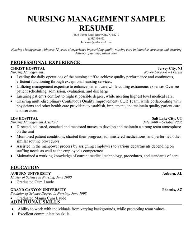 Assistant Nurse Manager Resume Top 8 Assistant Nurse Manager