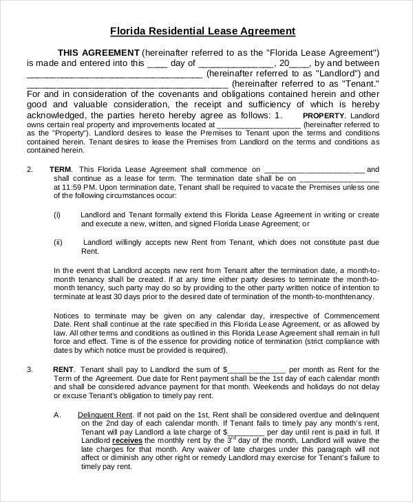 Free Printable Residential Lease Agreement 10 Best Rental - rental lease agreement