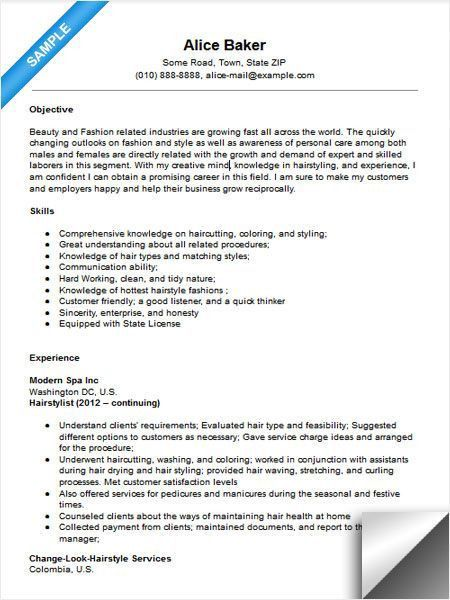 Resume For Hairstylist Professional Hair Stylist Templates To - hairstylist job description