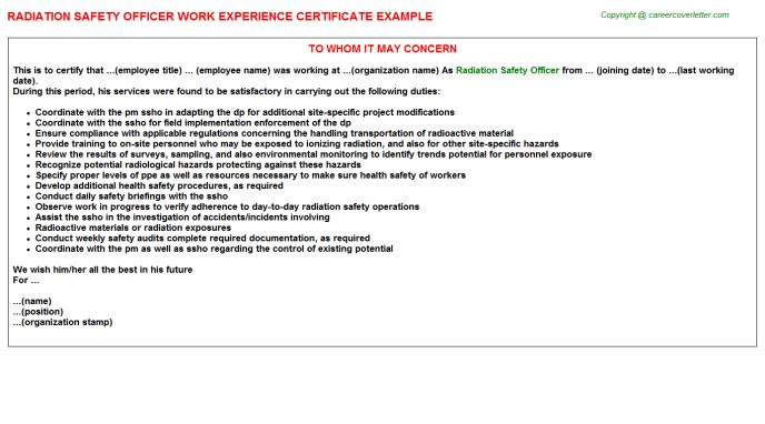 Radiation Safety Officer Sample Resume ophion - radiation safety officer sample resume
