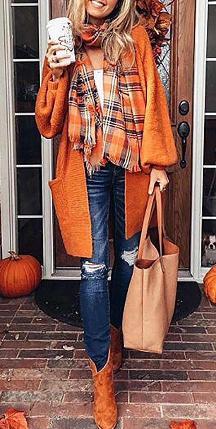 $42.99! Chicnico Casual Oversize Orange Long Cadigan fall fashion