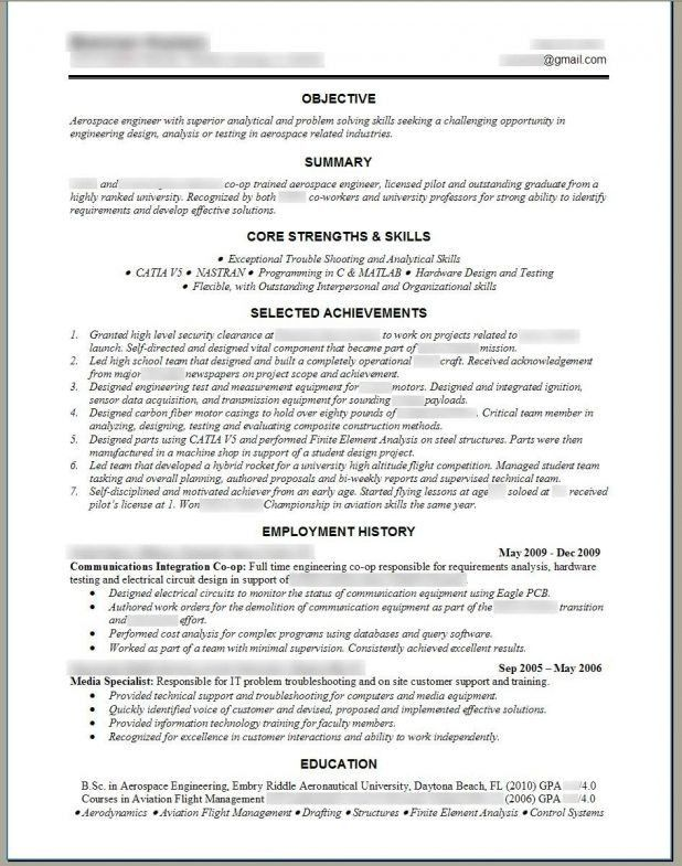 Aerospace Engineer Sample Resume] Engineer Resume Example ...