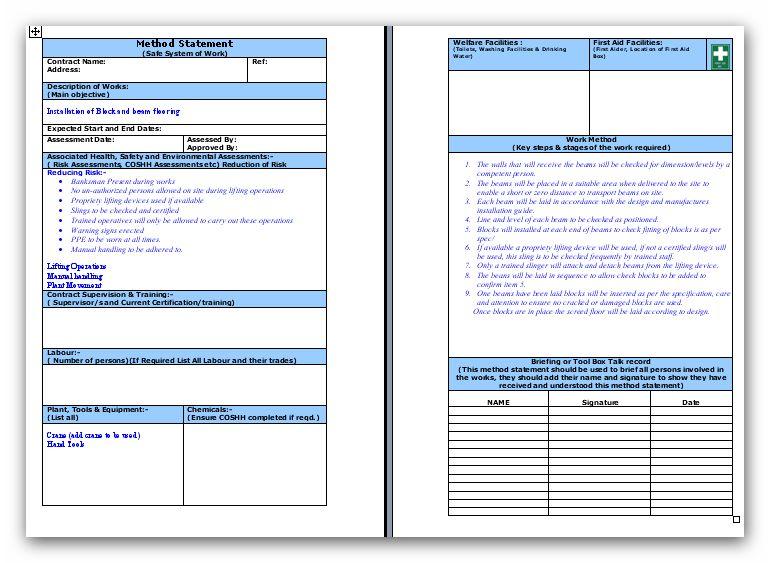 Method Of Statement Block And Beam Flooring Method Statement - method of statement