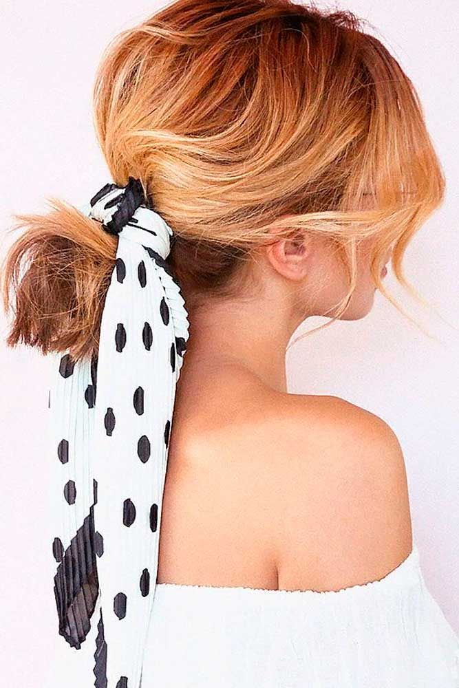 Ponytail With Kerchief #ponytails #blondehair ★ Cute and easy shoulder length hairstyles for thin and for thick hair can be found here. These styles can work for adult women and for teens. #glaminati #lifestyle #shoulderlengthhairstyles