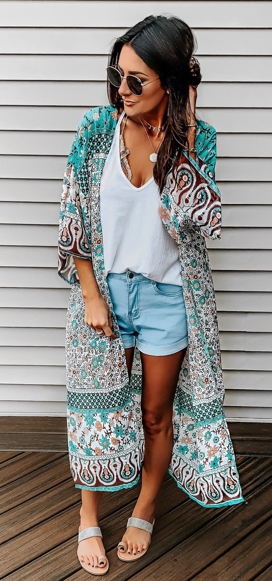grey and teal cardigan #summer #outfits
