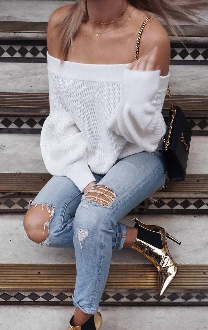 what to wear with golden boots : white off shoulder sweater bag ripped jeans