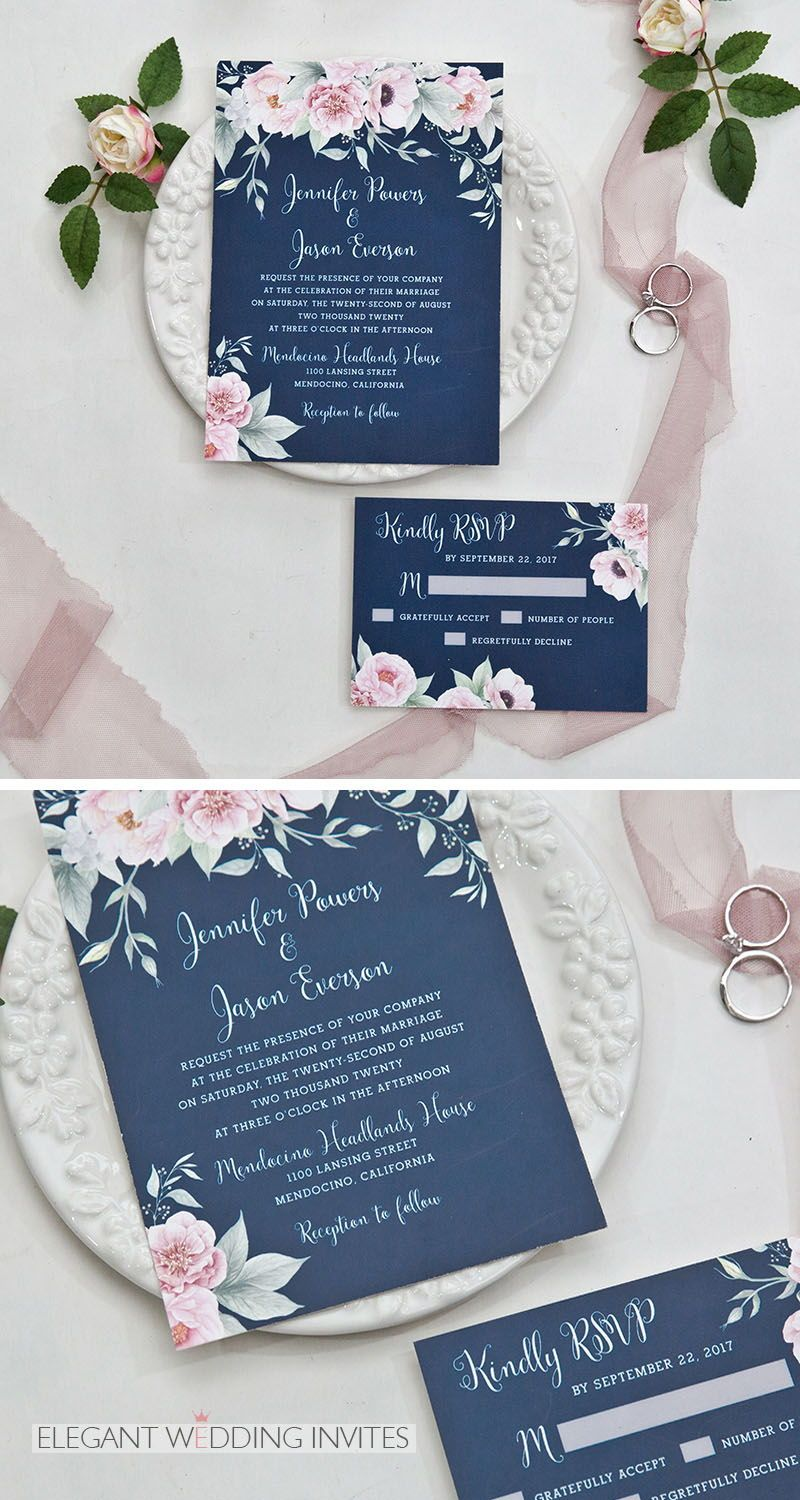 #EWI Gorgeous navy blue and blush pink floral watercolor wedding invitation EWDK002