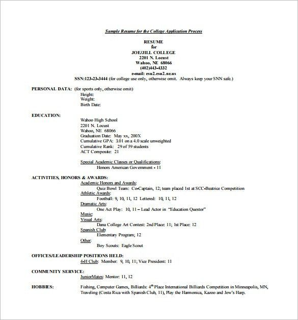 College Application Sample Resume College Resume Examples For  How To Write A Resume For College Application