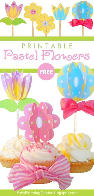 FREE Printable Paper Flower Cupcake Toppers or Decorations