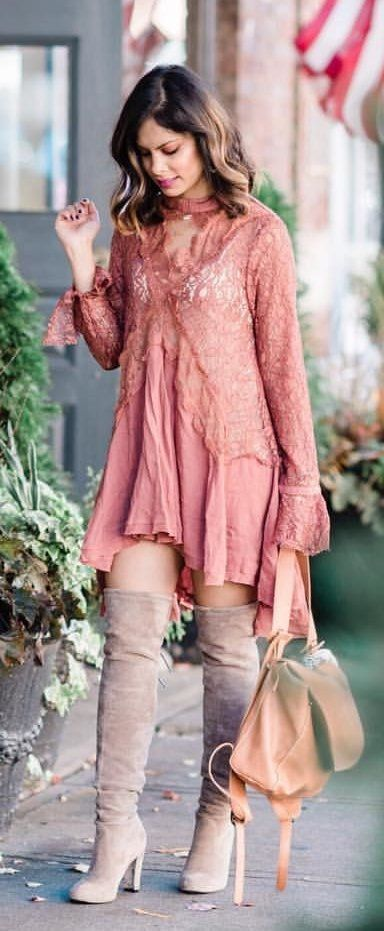 pink lace keyhole neckline long-sleeved mini dress
