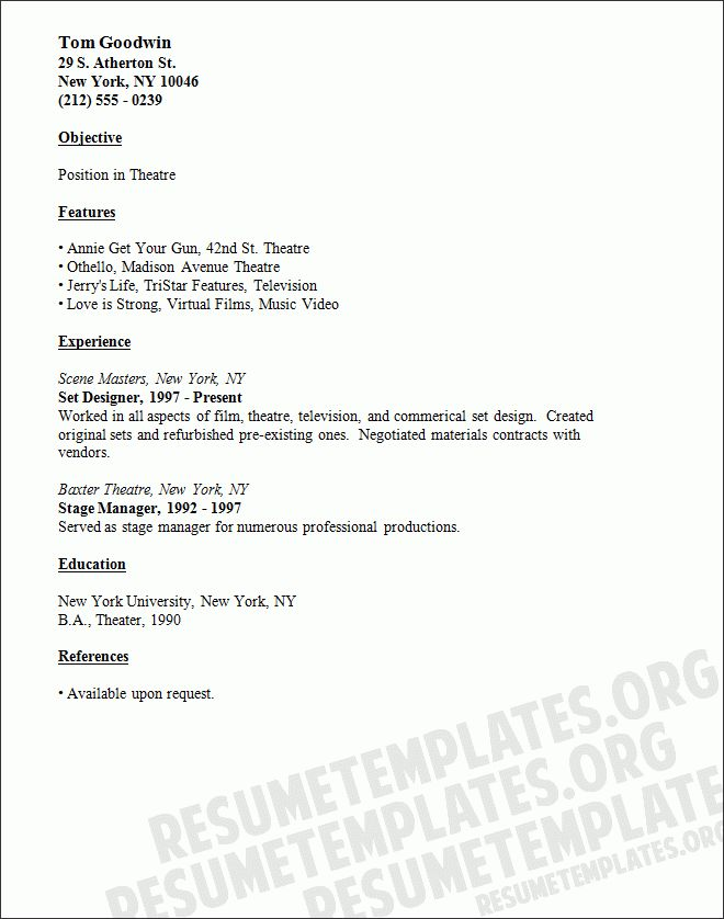 Theatre Resume Format 10 Acting Resume Templates Free Samples - theatrical resume format