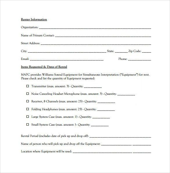 Product Rental Agreement Template 12 Equipment Rental Agreement - sample pasture lease agreement template