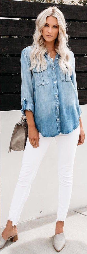 faded blue denim dress shirt #summer #outfits