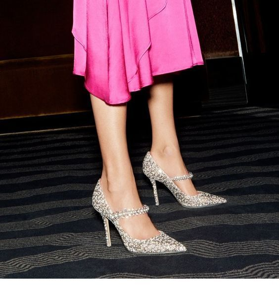 Pink dress and glitter shoes
