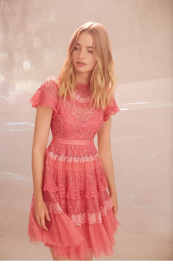 Sweet vintage lace pink dress