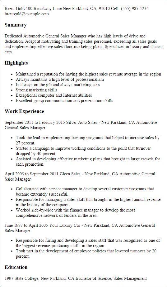 Auto Sales Resume Car Sales Resume Examples Job Description Good Sales  Resume Examples   Car Salesman
