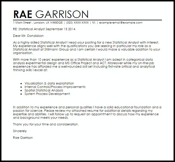 Awesome Statistical Consultant Cover Letter Images - Resumes and ...