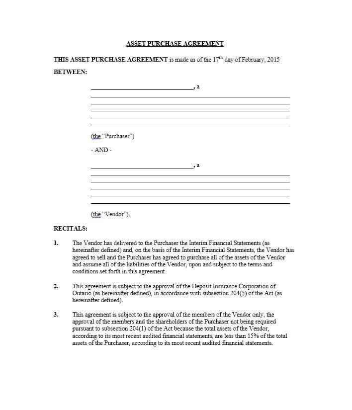 Simple Vendor Agreement Template Vendor Agreement Template 12 - asset purchase agreement
