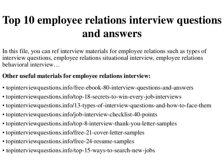 Employee Relations Cover Letter Samples | Cover Letter
