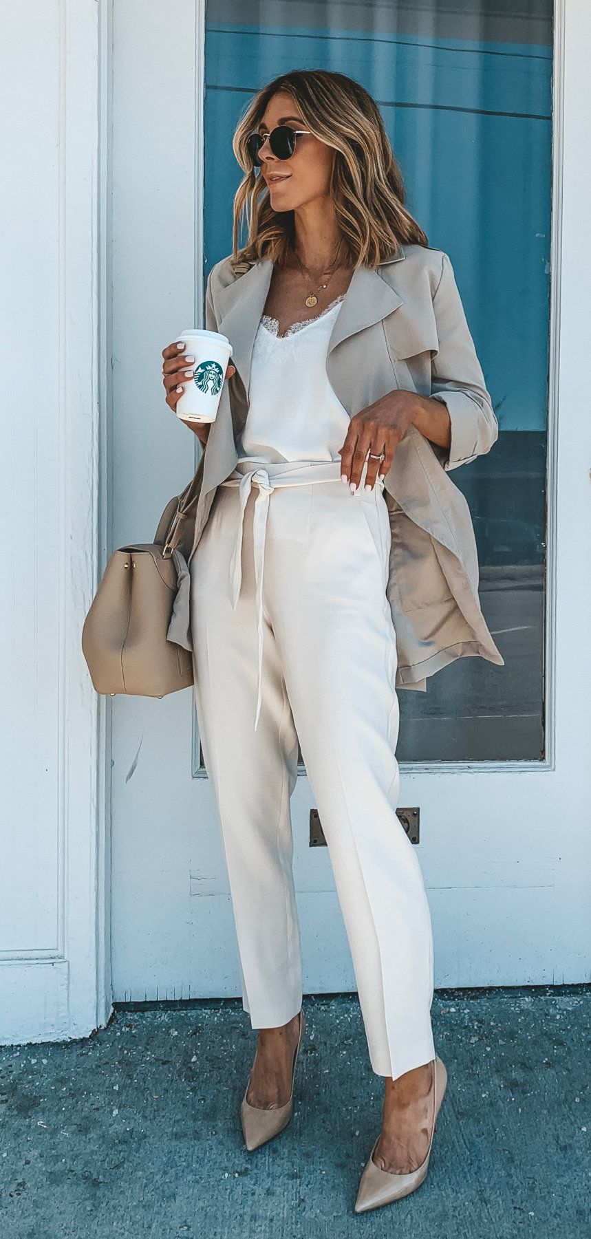 gray coat and white pants #spring #outfits