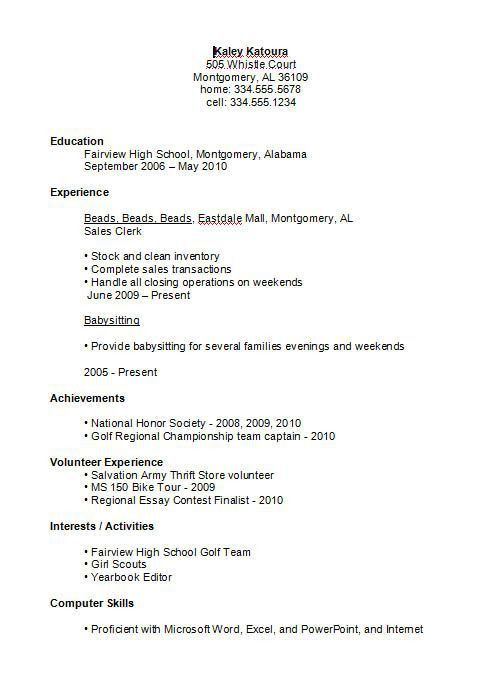 Sample Resumes For High School Graduates 13 Student Resume