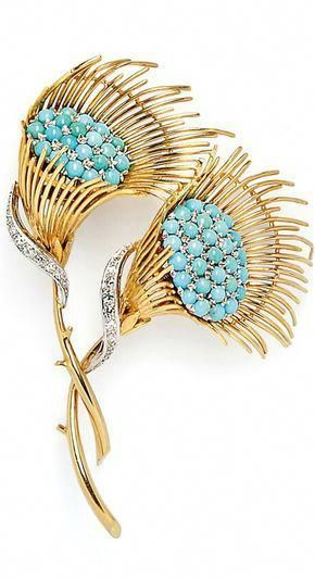 "18kt Gold, Turquoise, and Diamond Brooch, designed as two flowers with pave-set turquoise centers, diamond melee accents, 20.1 dwt, lg. 3 1/4 in. <a class=""pintag"" href=""/explore/diamondbrooches/"" title=""#diamondbrooches explore Pinterest"">#diamondbrooches</a><p><a href=""http://www.homeinteriordesign.org/2018/02/short-guide-to-interior-decoration.html"">Short guide to interior decoration</a></p>"