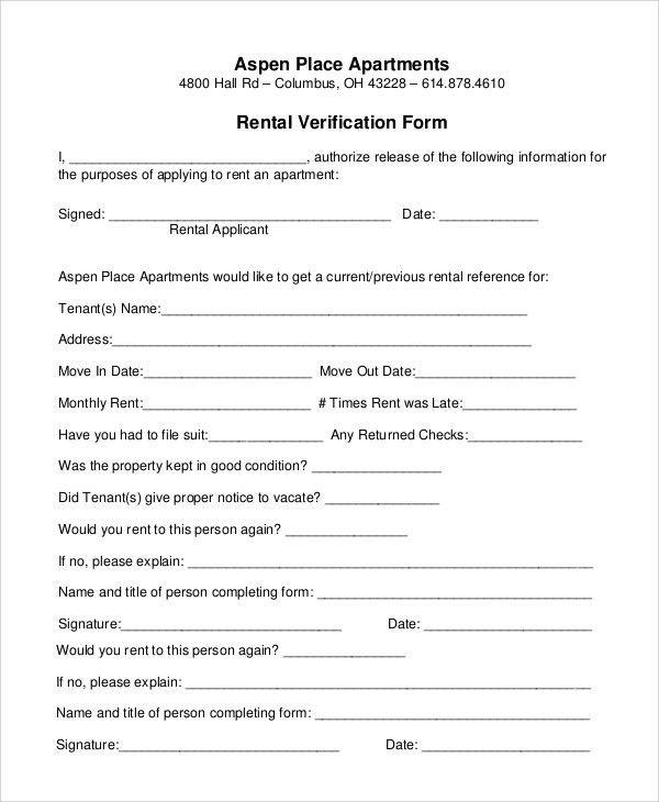 Renter Verification Form Sample Rental Verification Form 10 - verification form