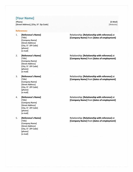 Resume Reference Page Examples Sample Resume References Resume