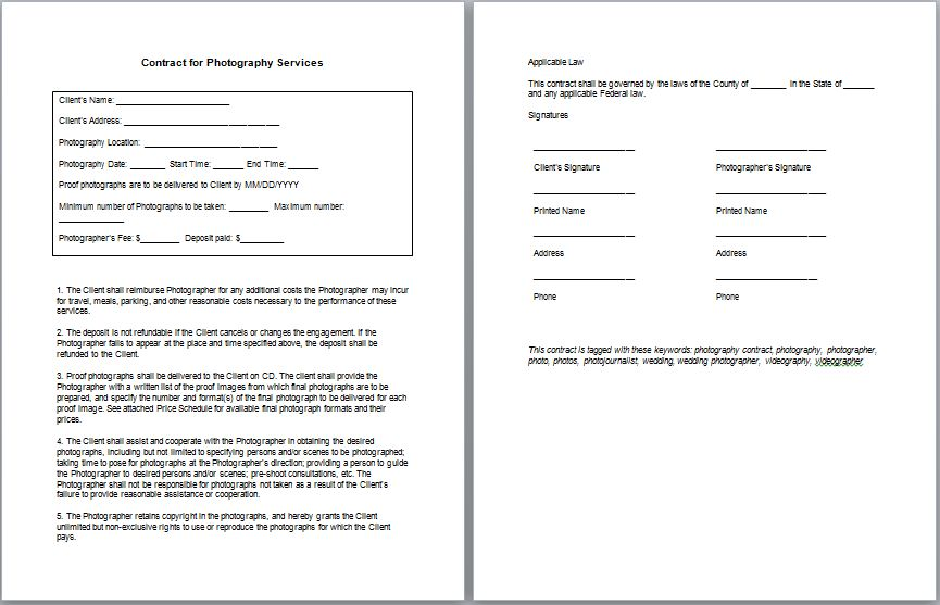 Basic Services Contract Service Contract Template, Free Printable - photography services contract