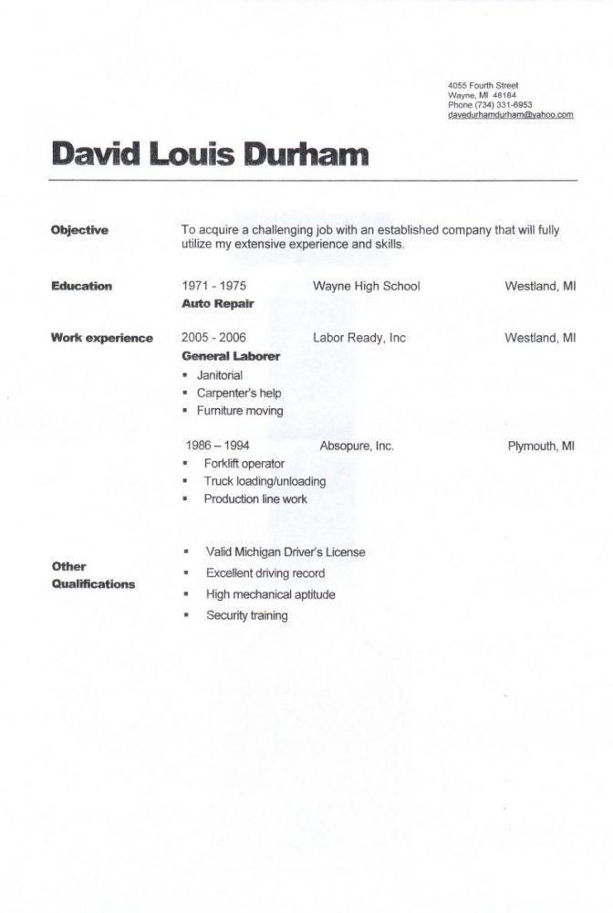 General Labour Resume Sample Unforgettable General Labor Resume