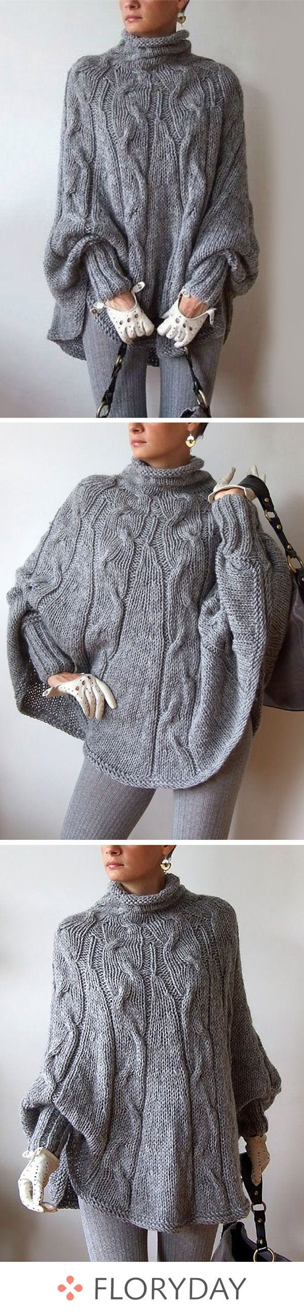 Wool Blends High Neckline Solid Loose Sweaters, wool, wool sweater, high neckline, solid sweater, solid, loose sweater, sweaters, autumn outfits, fashion sweaters, warm, casual.