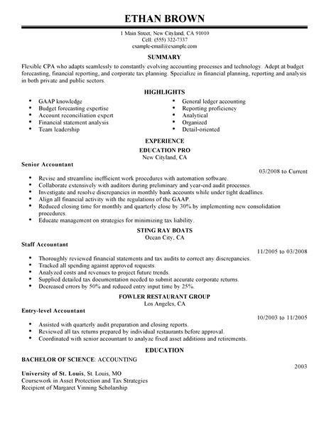 Accountant Resume Unforgettable Accountant Resume Examples To - senior accountant resume sample