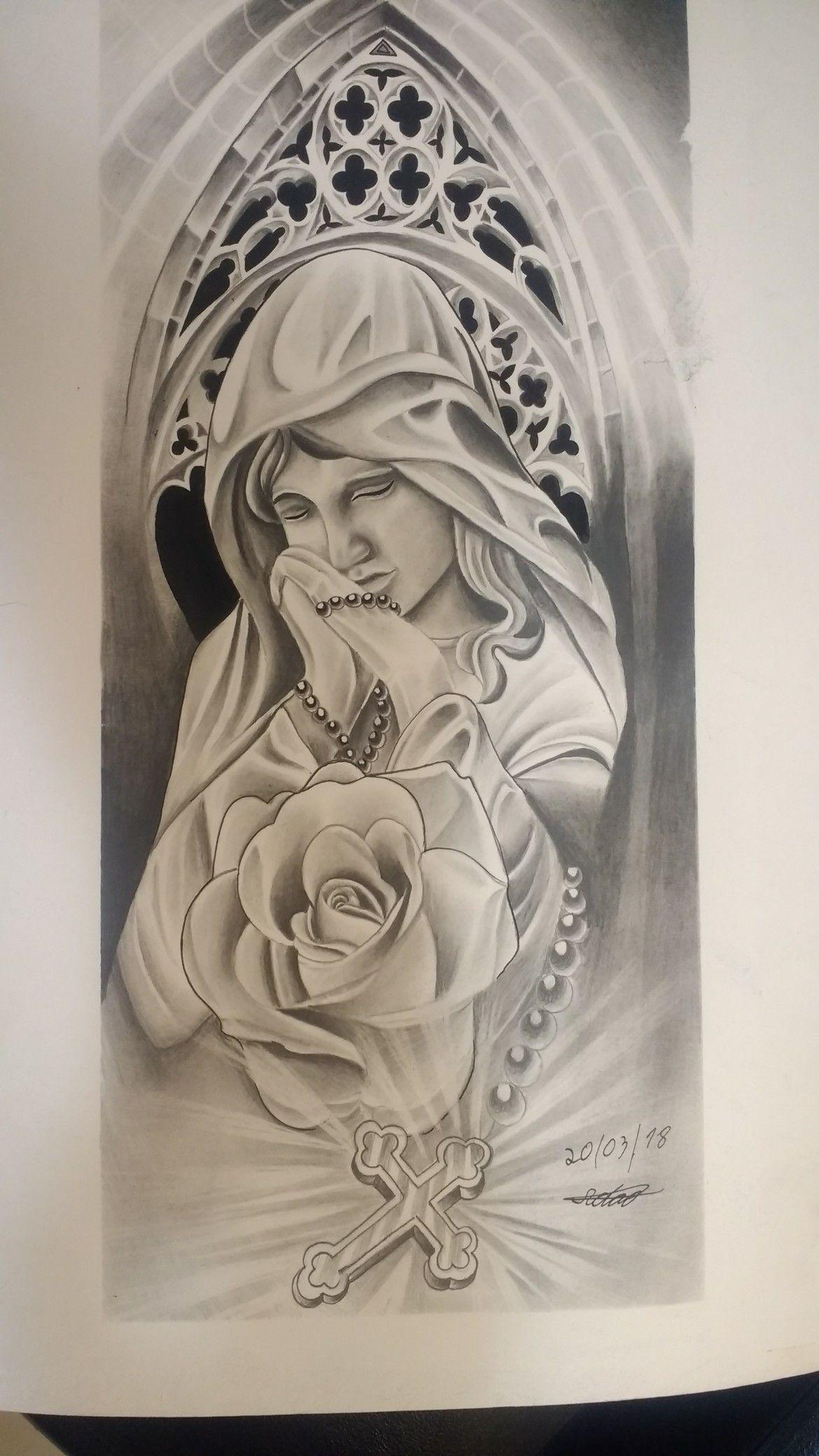 Desenho Para Tatuagem Tatuagem Religiosa Desenho De Santa Tatuagem