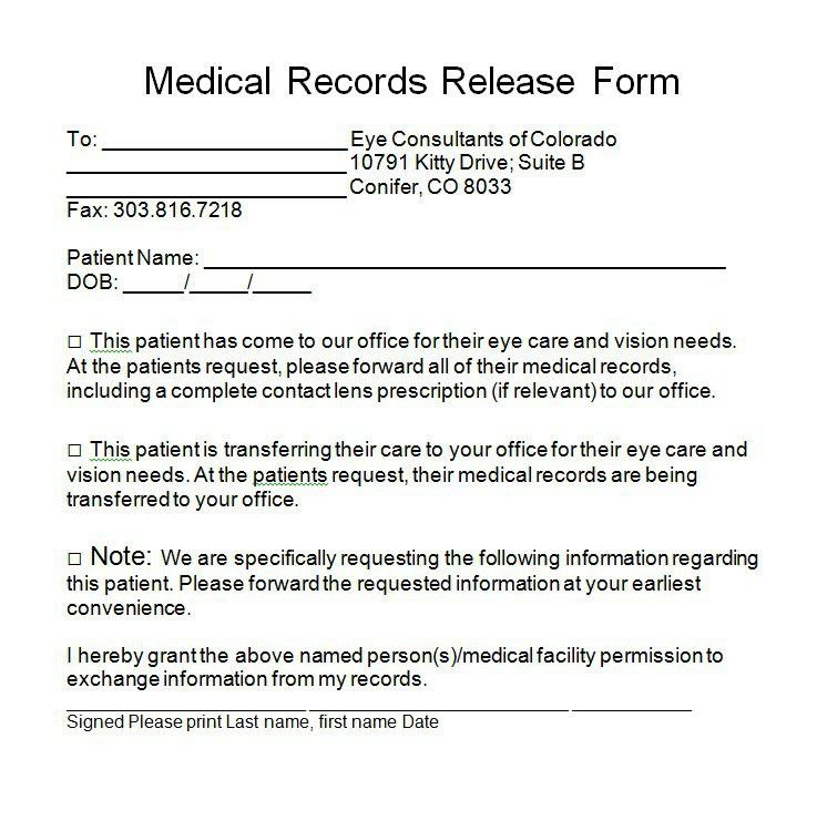 print release form plainresume - medical records release forms