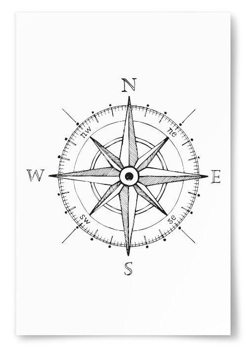 Stylish poster with cartoon compass - #cartoon #compass #poster #stylish - #JewelryPoster