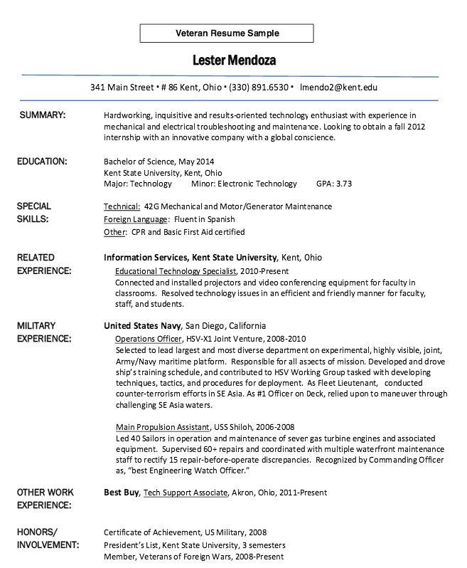 Veteran Resume Sample Veteran Resume 8 6 Sample Military To - military to civilian resume examples