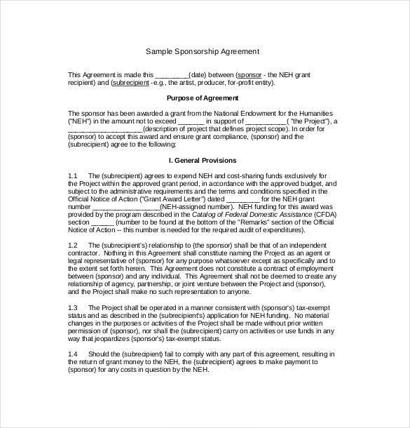 Sponsorship Contract Sponsorship Agreement Template Sample Form - sponsorship contract template